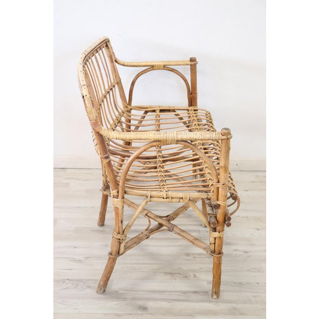 20th Century Italian Bamboo and Rattan Living Room Set of 4 Pieces, 1960s For Sale - Image 4 of 13