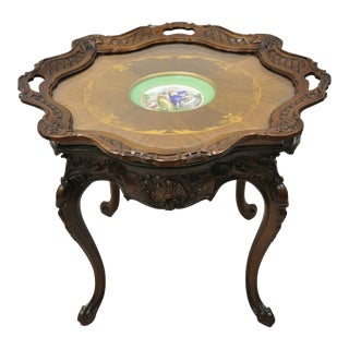 French Louis XV Inlaid Coffee Table With French Angelica Kauffman Porcelain Dish For Sale