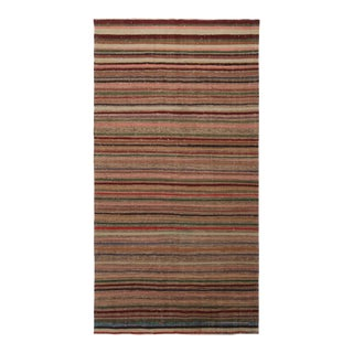 Vintage Geometric Striped Beige Brown and Multicolor Wool Kilim Rug For Sale
