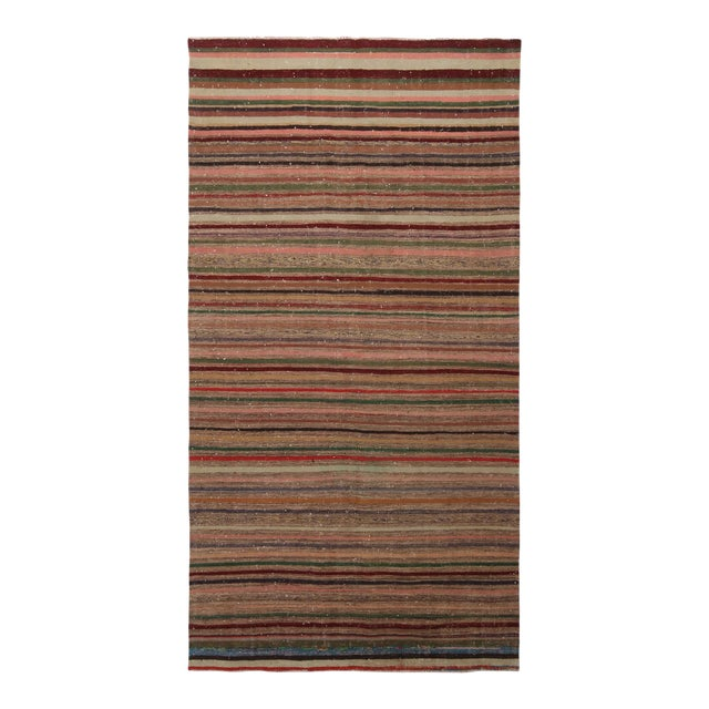 Vintage Geometric Striped Beige Brown and Multicolor Wool Kilim Rug For Sale