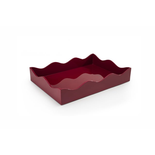 Contemporary Medium Belles Rives Tray in Bordeaux Red - Rita Konig for The Lacquer Company For Sale - Image 3 of 3