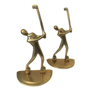 1980s Vintage Brass Golfer Bookends - a Pair For Sale