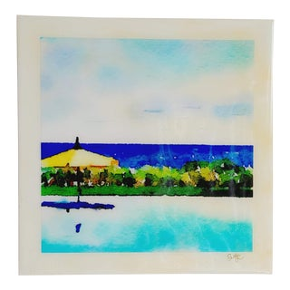 """""""Infinity Pool"""" Contemporary Poolside Scene Digital Watercolor Print by Suzanne MacCrone Rogers For Sale"""