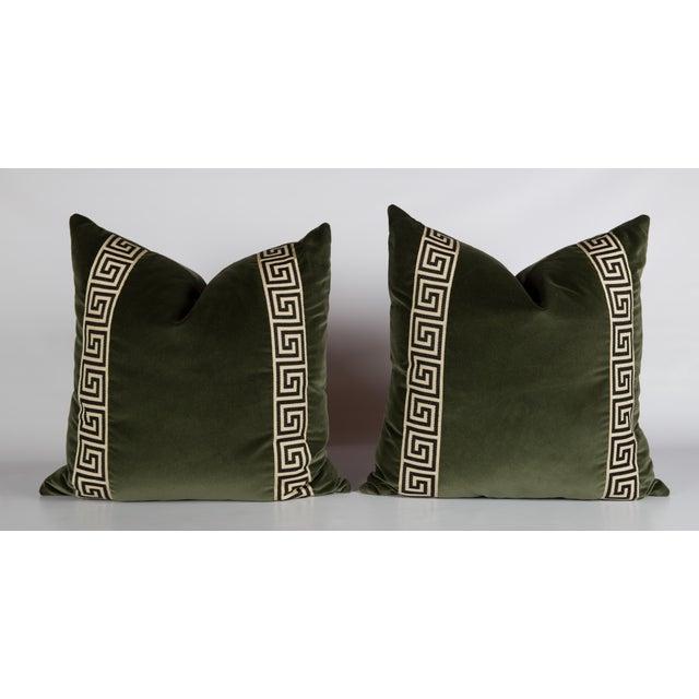 Moss Velvet Greek Key Pillows - a Pair - Image 2 of 5