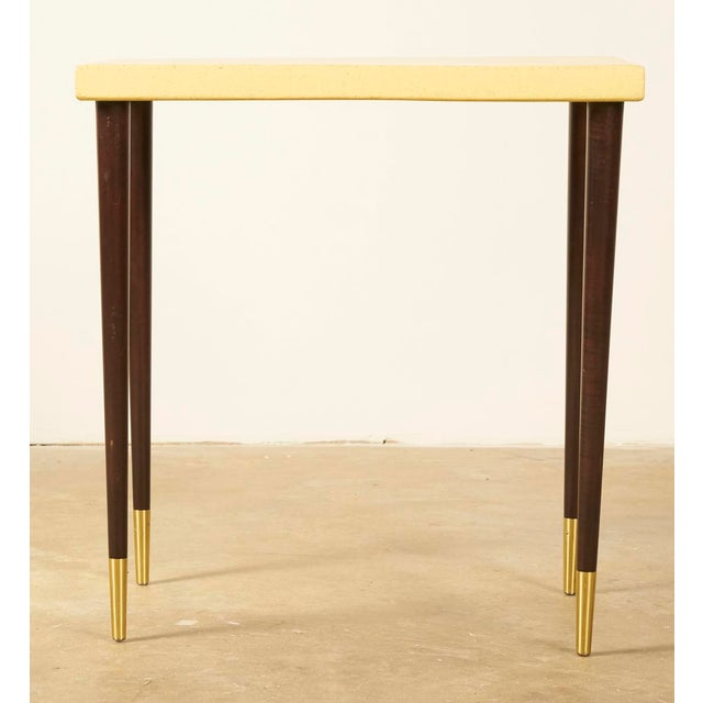Recently refinished cork topped side or accent table by Paul Frankl. Cork is in excellent shape, showing refinished...