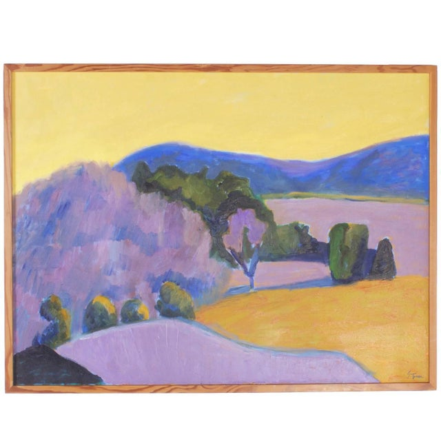 Mid-Century Landscape Painting on Canvas by Sally Turner For Sale - Image 9 of 9