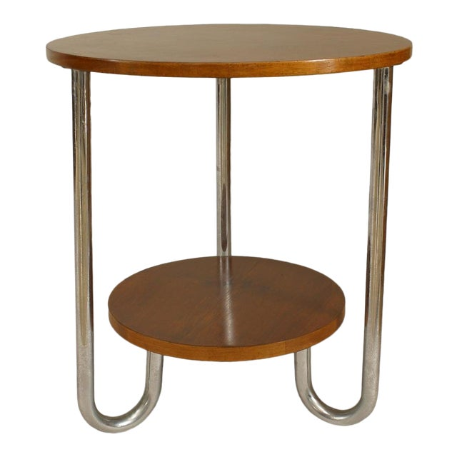 French Art Deco Round Fruitwood and Triple Chrome Leg End Table For Sale