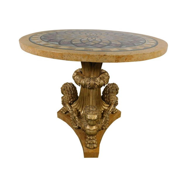 Neo-Classical Style Gilt Lion Carved Center table Round, Mosaic Tessellated Stone top For Sale - Image 13 of 13