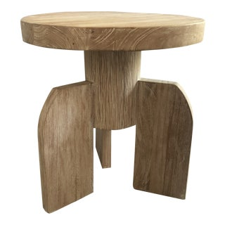 Contemporary Noir Sculptural Distressed Wood Side Table For Sale