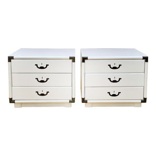 1960's Drexel Campaign Style Nightstands-a Pair For Sale