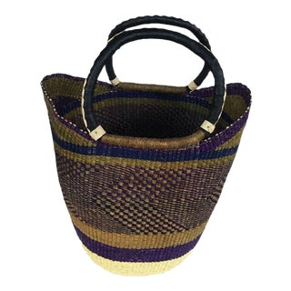 Bolga Ghana Army Green U Shopper Beach Bag Woven Basket For Sale