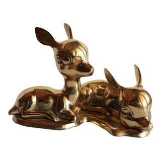 Solid Brass Baby Deer Figurines on Base For Sale