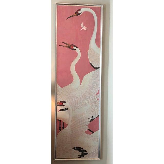 Asian Custom Gucci Pink Heron Crane Wallpaper Mural Panels - a Pair For Sale - Image 3 of 9