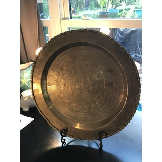 Vintage Large Etched Bird Brass Tray Damascene Preview