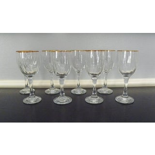 Vintage Gold Rimmed Wine Glasses - 10 Glasses Preview