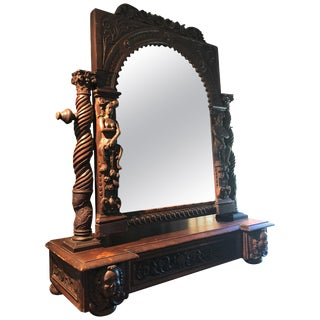 Extraordinary Ornately Carved Early British Dark Oak Tabletop Mirror For Sale