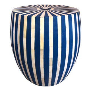 Blue and White Inlayed Striped Side Table For Sale