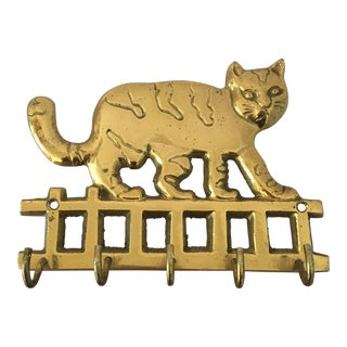 Mid-Century Brass Cat Key Hook For Sale