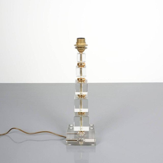 Hollywood Regency Attributed to Bakalowits Sohne Glass Gold Brass Table Lamp, Austria, 1960 For Sale - Image 3 of 5