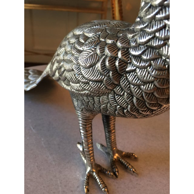Cast Silver-Plate Peacock - Image 5 of 7