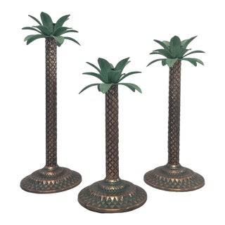 Palm Tree Candlesticks, S/3 For Sale