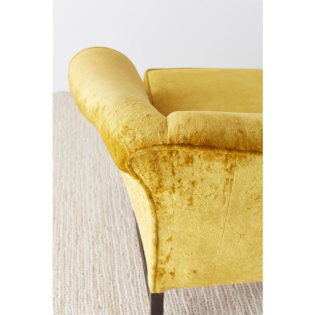Chinese Chippendale Style Citron Velvet Camel Back Sofa For Sale - Image 10 of 13