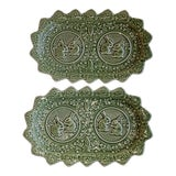 Image of Bordallo Pinheiro Portugal Majolica Green Oval Bunny Platters - a Pair For Sale