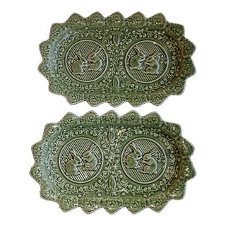 Bordallo Pinheiro Portugal Majolica Green Oval Bunny Platters - a Pair For Sale