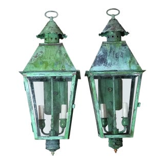 Vintage Brass Wall Lanterns - a Pair