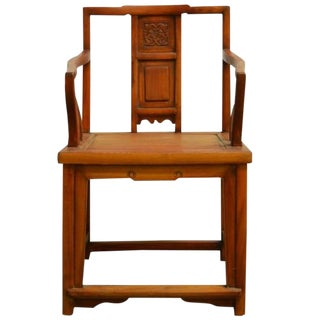 Antique Chinese Carved and Lacquered Elmwood Chair From the 19th Century For Sale