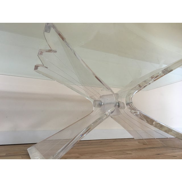 Glass Lucite Butterfly Base Coffee Table - Image 4 of 5