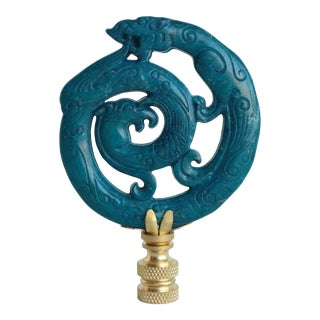 Stone Ouroboros Lamp Finial on Brass Hardware For Sale