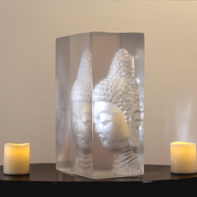 Geometric Resin Sculpture, Buddha Wall Relief - Image 4 of 4