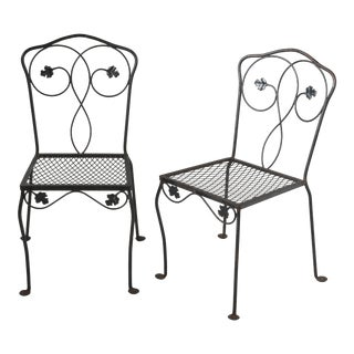 1960s Mid-Century Modern Oak Leaf Iron Mesh Dining Chairs Attributed to Salterini - a Pair For Sale