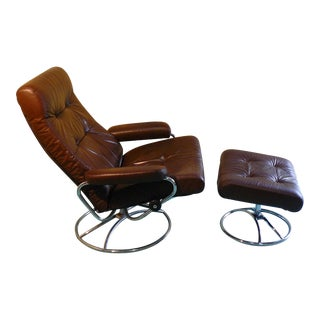 "1970s Ekornes Leather ""Stressless Recliner"" & Ottoman For Sale"