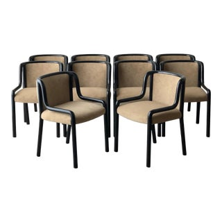 Late 20th Century Italian Post Modern Black Lacquer Dining Chairs - Set of 10 For Sale
