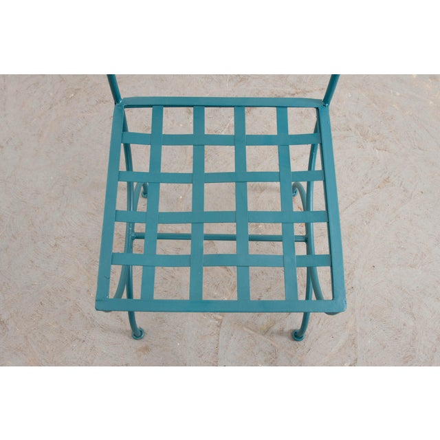 Suite of Eight Early 20th-Century Neoclassical-Style Painted Wrought-Iron Side Chairs For Sale - Image 12 of 13