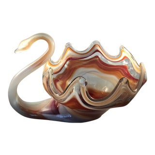 Murano Centerpiece Swan Bowl For Sale