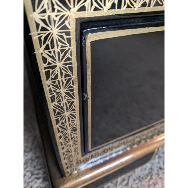 Asian Black Lacquered Chest For Sale In Chicago - Image 6 of 7