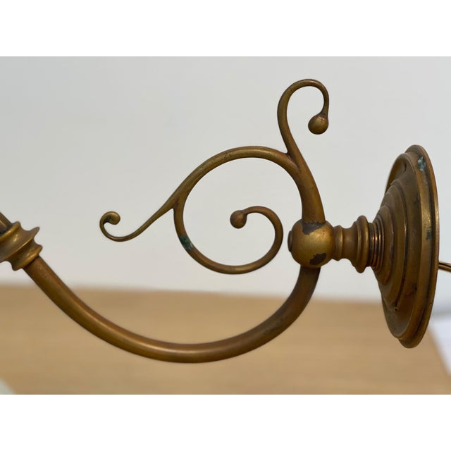 Vintage 1900s Wall Sconce in Antiqued Brass With Milk Glass Shade For Sale In Los Angeles - Image 6 of 12