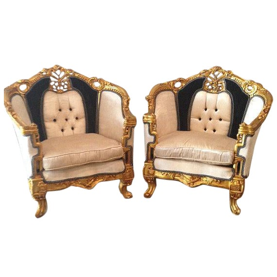 Antique Black & White Louis XVI Chairs - a Pair - Image 1 of 7