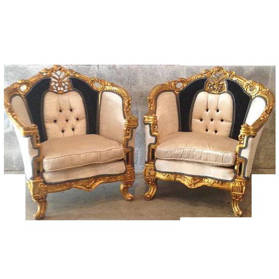 Antique Black U0026 White Louis XVI Chairs   A Pair