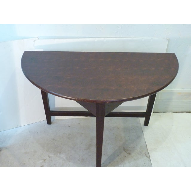 Early 19th Century Early American Faux-Grain Demi-Lune Console For Sale - Image 5 of 9