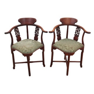 Early 20th Century Antique Solid Rosewood Chinoiserie Corner Chairs- a Pair For Sale