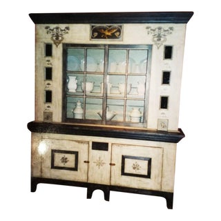 1990s Country Baker Furniture Company Ohio Painted Hutch For Sale