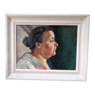 1950s Vintage Trude Hanscom Portrait of a Woman Painting For Sale
