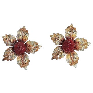 1960s Boucher Enamel Strawberry Earrings For Sale