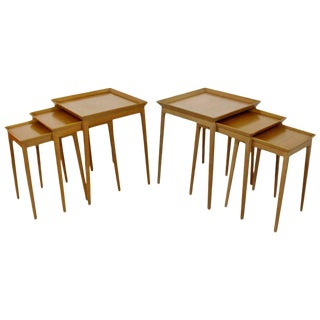Mid Century Modern Pair Side Nesting Table Set Robsjohn Gibbings Widdicomb 1950s For Sale