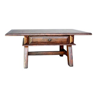 Walnut Coffee Table with Drawer For Sale
