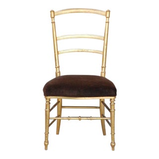 Mid 19th Century Small Gilt and Brown Velvet Napoleon III Side Chair For Sale